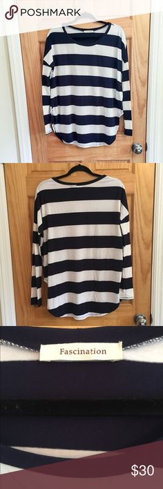 NWOT Navy & white stripe long sleeve tee sz S Never worn! Long sleeve navy and white shirt bought from the online boutique Impressions. The brand is Fascinations size small. Has a split side seam, and a slightly oversized fit, perfect with leggings! Tops Tees - Long Sleeve