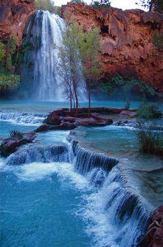 Havasu Falls in Havasupai, Arizona (Native American nation in the basin of Grand Canyon)