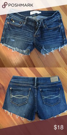 Abercrombie jean cut offs size 0 Abercrombie kids size 16 but fit like a 0. Cut off style, raw hems. Distressed style. Well taken care of. Please ask if you have any questions! Abercrombie & Fitch Shorts Jean Shorts