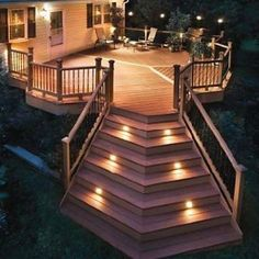 Outdoor decking I love the lights
