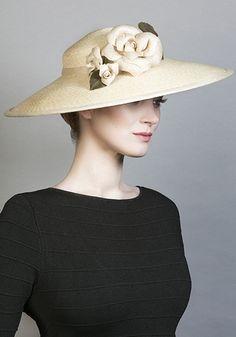 Rachel Trevor Morgan Millinery SS 2016   R1663 - Natural Italian braid straw hat with hand made straw Camellias