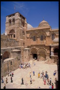 The Church of the Holy Sepulchre- note the ladder underneath the window. It was still there in Nov. 2013.