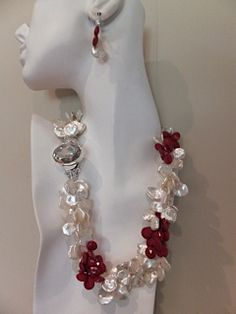 Keshi White Pearl and Coral Three Strand Necklace and Earrings $2200.00