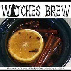 Witches Brew 1 apple 1 orange 1 lemon 2 T whole allspice 2 T whole cloves 4 cinnamon sticks Slice fruit into rings. Don't worry about peels, seed, cores, etc. Place all ingrdients into a crock-pot. Fill with water. Simmer on low.smells like fall! Favorite Holiday, Holiday Fun, Holiday Ideas, Holiday Foods, Pot Pourri, Fete Halloween, Halloween Ideas, Halloween Decorations, Halloween Witches