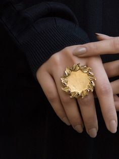 Buy Gold Toned Handcrafted Brass Ring online at Theloom