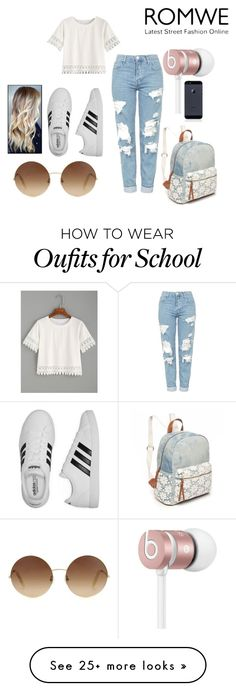 """Crochet Top-At School"" by kate-elizabeth-egan on Polyvore featuring Topshop, adidas, Red Camel, Beats by Dr. Dre and Victoria Beckham"