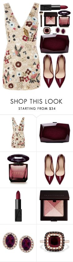 """""""Untitled #4679"""" by natalyasidunova ❤ liked on Polyvore featuring Topshop, Monique Lhuillier, Versace, Zara, NARS Cosmetics, Laura Mercier, Effy Jewelry and Hourglass Cosmetics"""