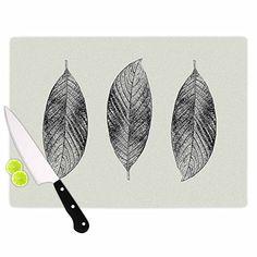 "KESS InHouse Julia Grifol ""Three Leaves"" Black Grey Nature Cutting Board, 11.5"" x 8.25"", Multicolor  #leaves #homedecor #kitchen #cuttingboard #kessinhouse #juliagrifol #print"