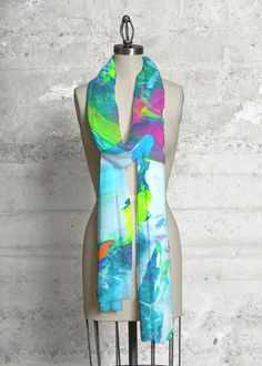 Cashmere Silk Scarf - Blue Green Composition 1 by VIDA VIDA VAwjSOw