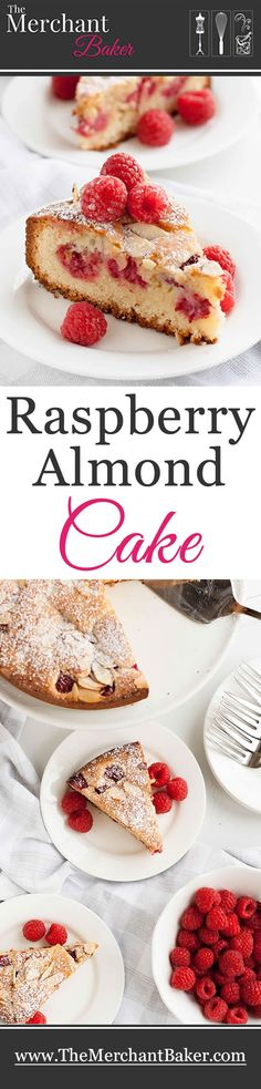 Raspberry Almond Cake, flavored with almond paste and layered with fresh berries! A perfect cake for breakfast, dessert or afternoon tea.