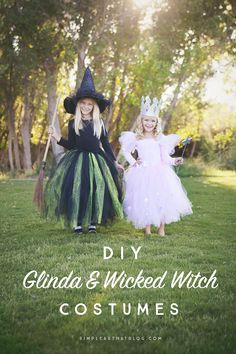 DIY Glinda the Good Witch and Wicked Witch costumes that require little to no sewing! New Halloween board! I'm so excited for Halloween! Sister Halloween Costumes, Diy Halloween Costumes For Kids, Theme Halloween, Disney Costumes, Kid Costumes, Costume Ideas, Disney Halloween, Woman Costumes, Couple Costumes
