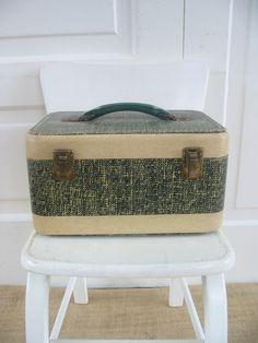 Vintage Train Case Suitcase Luggage Tan Green Pink Storage by vintagejane on Etsy