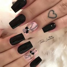 Acrylic Nail Shapes, Cute Acrylic Nails, Pastel Nails, Cute Nails, Square Nail Designs, Black Nail Designs, Gel Nail Designs, Wow Nails, Aycrlic Nails