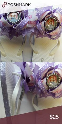 Handmade Sofia the First Inspired Interchangeable Handmade Interchangeable Hairbow Flip Flops Shoes Sandals