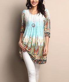Love this White & Green Mosaic Empire-Waist Tunic Dress by Reborn Collection on #zulily! #zulilyfinds