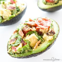 This BLT stuffed avocado recipe makes a perfect lunch or snack. It's naturally healthy, low carb, paleo, and gluten-free.