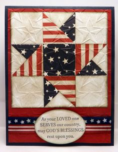 handmade patriotic quilt card by Bonnie Emmons ... luv the papers she used in the patchwork star ... red and white stripes ... navy with white stars ... great card!