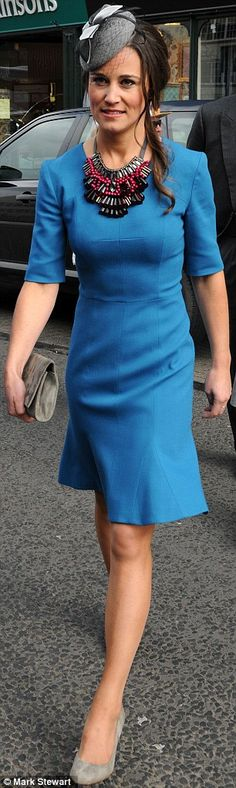 Pippa Middleton looked stunning as she attended the wedding of Michael Marsham, son of the Earl and Countess of Romney and Lucy Beaumont, daughter of Viscount and Viscountess Allendale April 27, 2013