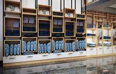 Bedding Store Interior Design - Retail Design in Saudi Arabia - CAS Showroom Interior Design, Retail Interior, Interior Design Kitchen, Fashion Shop Interior, Fashion Store Design, Retail Store Design, Retail Shop, Metal Shelving Units, Retail Shelving