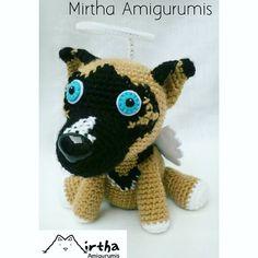 Amigurumi dog With halo and wings💜 Mirtha Amigurumis -Tiernos muñecos de colección #Ecuador #Guayaquil #crochet #dog #amigurumi