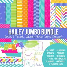 Digital Papers, Frames, and Clipart Hailey Jumbo Set. Purple, turquoise, lime green, yellow, orange, and pink.