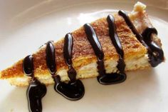 Cheesecake Sopapilla - complete with a chocolate sauce topping!