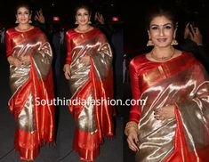 At the Umang Police Show, Raveena Tandon was seen in a silver tissue silk saree that has red and gold kanchi borders paired with red full sleeves blouse. Traditional gold jewellery and an updo decorated with flowers rounded out her look! Kerala Saree Blouse Designs, Half Saree Designs, Saree Blouse Patterns, Full Sleeves Blouse Designs, Bridal Blouse Designs, Bridal Silk Saree, Saree Wedding, Chiffon Saree, Silk Saree Kanchipuram