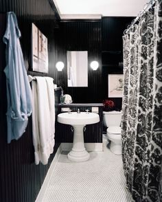n a small space without windows, black high-gloss walls help provide a source of reflected light and texture.