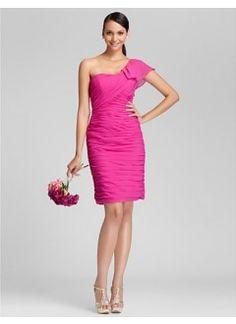 Sheath/Column One Shoulder Knee-length Chiffon Bridesmaid Dress