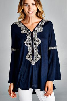 The Rayna Boho Embroidered Bell Sleeve Tunic Top