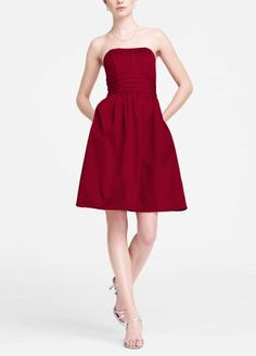 David`s Bridal Cotton Sateen Short Strapless Ruched Dress Style 83312 $29.99