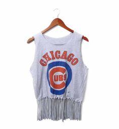 Vintage Chicago Cubs Fringe Tank / tshirt by SIMPLEandBOLD on Etsy