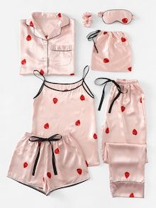 Shop Strawberry Print Cami Pajama Set With Shirt online. SheIn offers Strawberry Print Cami Pajama Set With Shirt & more to fit your fashionable needs. Pyjamas, Cozy Pajamas, Satin Pyjama Set, Satin Pajamas, Pajama Outfits, Cute Outfits, Womens Nighties, Mode Bollywood, Family Pajama Sets