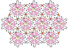 Motivos o pastillas 5 - Tejiendo Perú Crochet Motif Patterns, Crochet Squares, Crochet Granny, Crochet Stitches, Knit Crochet, Granny Squares, Crochet Garland, Diagram Chart, Basket Decoration