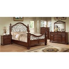 5 pc Landaluce collection transitional style antique dark oak Finish Wood Queen Bedroom Set with a floral metal design on Headboard and Footboard Oak Bedroom, King Bedroom Sets, Queen Bedroom, Bedroom Furniture Sets, Brown Furniture, Antique Furniture, Master Bedroom, Four Poster Bedroom, Bedroom Posters