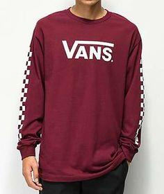 424273555cb Vans Classic Checkerboard Burgundy Long Sleeve T-Shirt