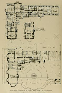 Floor Plans: residence of Mr. George Lewis in Beverly Hills Sabrina Set Architecture Mapping, Architecture Drawings, Historical Architecture, Architecture Plan, Residential Architecture, The Plan, How To Plan, Home Building Design, Building Plans