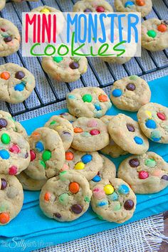 Mini Monster Cookies: Peanut butter cookie base loaded with mini m&m's and oats!