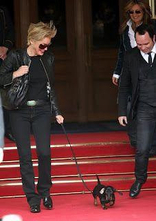 Sharon Stone with her dachshund
