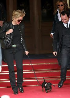 Sharon Stone with her dachshund