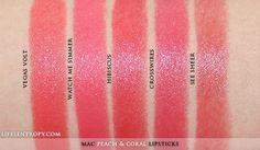 MAC Peach & Coral Lipstick Collection (L-R) Vegas Volt, Watch Me Simmer*, Hibiscus*, Crosswires, See Sheer * = limited edition Mac Coral Lipstick, Mac Lipstick Shades, Mac Lipstick Swatches, Makeup Swatches, Lipsticks, Mac Coral Bliss, Vegas, Lipstick Collection, L'oréal Paris