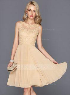 [US$ 145.29] Vestidos princesa/ Formato A Decote redondo Coquetel Tecido de seda Vestido de cocktail com Plissada