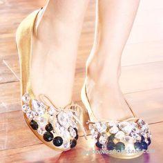 Bowknot Gold Sheepskin Rhinestone Handmade String Beads Pearls Bride Bridal Flats WS0649