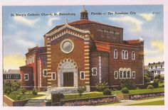 St. Petersburg Florida, St. Mary's Catholic Church, vintage linen postcard
