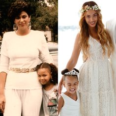 Tina Knowles with Beyonce, and Beyonce with her daughter