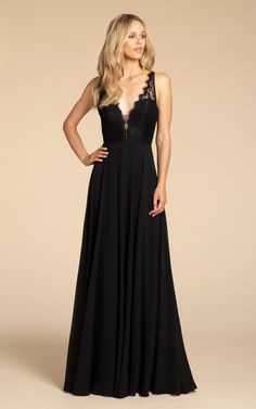 b61906a9b54fc Style 5919 Hayley Paige Occasions bridesmaids gown - Black chiffon A-line  gown, Black lace bodice, V-neckline with scallop trim and illusion detail,  ...