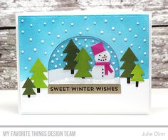 Handmade card from Julie Dinn featuring the Snow Globe Card Kit #mftstamps