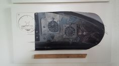 Impression :  dashboard Morgan T3W Dennis Glavis 2014, accessories, painted on a steel background in oil on a white board. Enlarge, s.v.p.