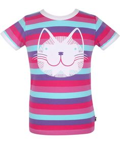 Danefæ lief roos-turquoise gestreepte t-shirt met schattige poes #emilea