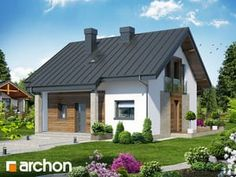 Дом Миниатюрка (Н) Проект ARCHON+ планы, разрез, Проекты малых домов (до 150 m2) Small House Exteriors, Prefab Homes, Facade House, Pool Houses, Home Fashion, Home Projects, Bungalow, House Plans, Sweet Home